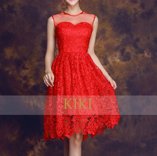 Red  lace/gauze mesh  short prom/bridesmaid/evening/party dress knee length bow tie custom made dress on Etsy, $98.00