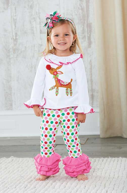 What a fun Christmas outfit for little girls! A frilly reindeer top is  paired with pink ruffled polka dot leggings. Mud Pie brings us this lovely  reindeer ... - What A Fun Christmas Outfit For Little Girls! A Frilly Reindeer Top