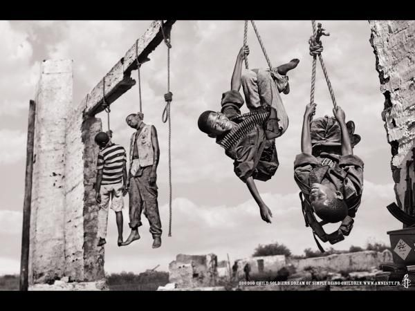 Hanging Pictures amnesty international: hanging kids, human rights awareness, tbwa