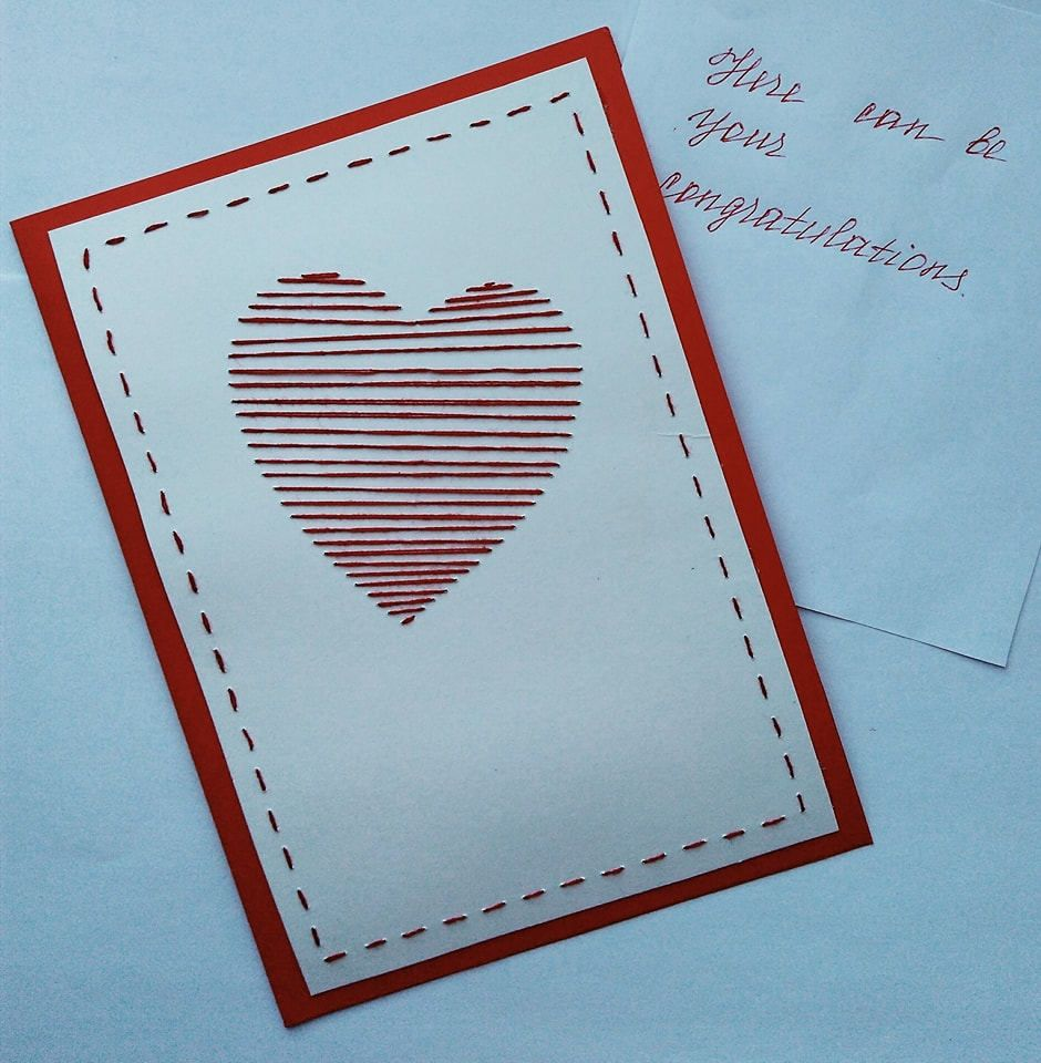 Valentines day card heart love red birthday card mothers day gift valentines day card heart love red birthday card mothers day gift card embroidered handmade card greeting kristyandbryce Image collections