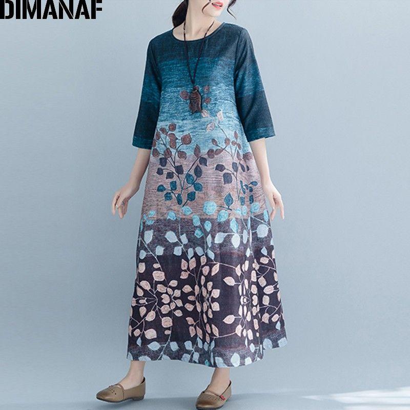65250c604a7 DIMANAF Plus Size Women Long Dress Vintage Lady Vestidos Loose Casual Print Dress  Female Elegant Sundress