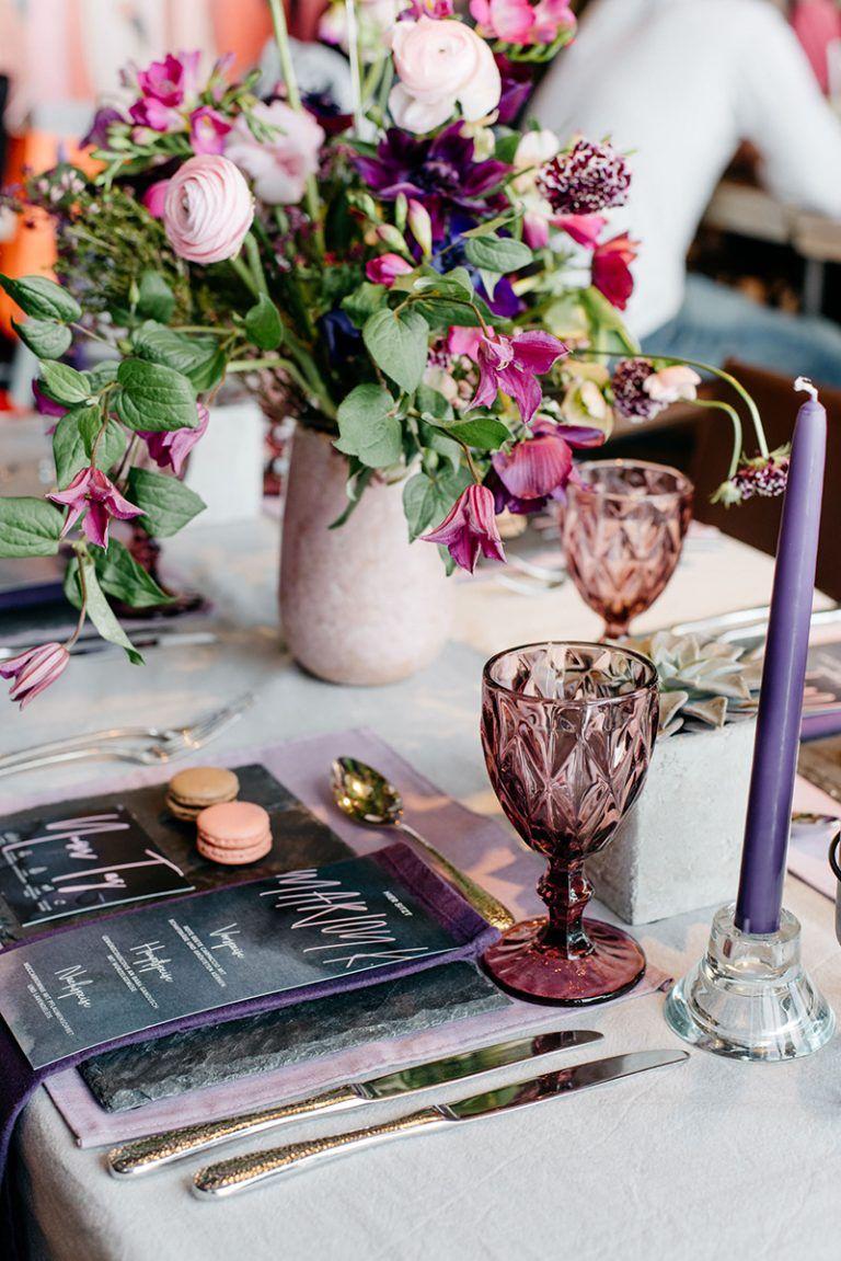 Urban Chic Inspiration Purple Wedding Pinterest Tischdeko