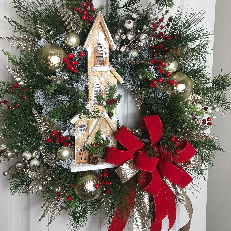 Christmas Wreath, Holiday Wreath, Christmas Decor, Church Wreath, Mantle Wreath, Door Decor, Xmas Wreath #churchitems