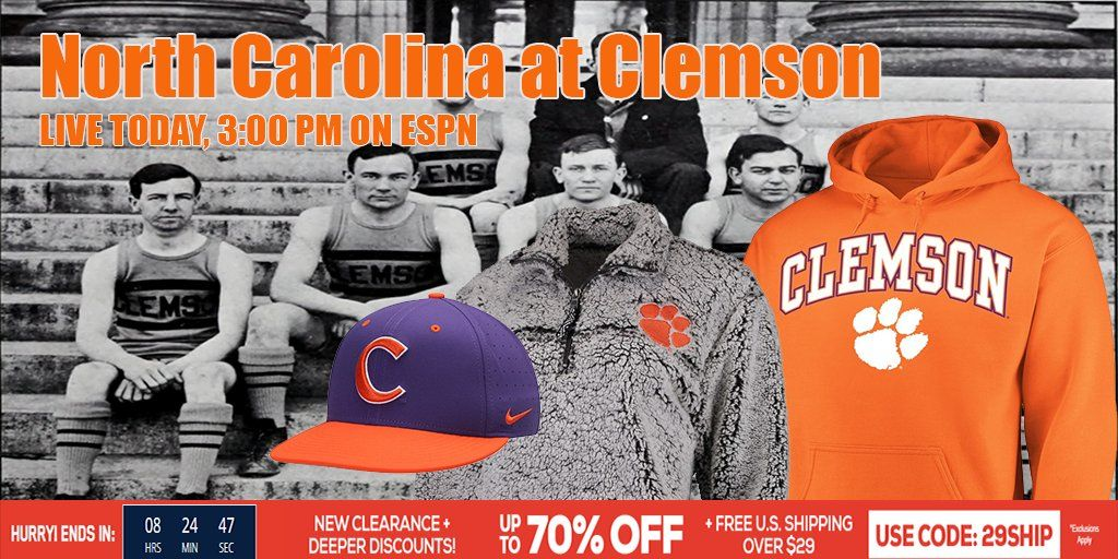 Reminder: Carolina at Clemson LIVE TODAY, 3:00 PM ON ESPN ...