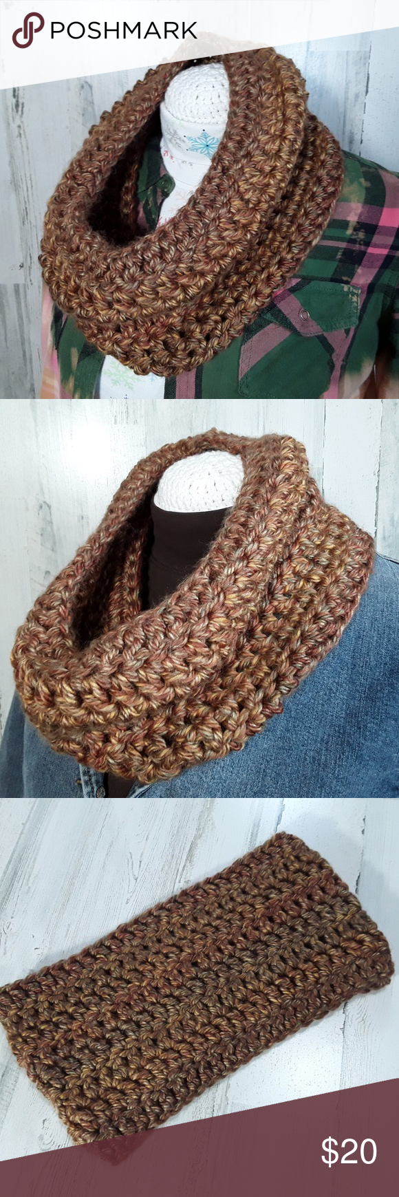 Scarf Infinity Cowl Crochet Thick Soft Brown This listing is for one infinity scarf crocheted in variegated shades of brown. It is rich with color, versatile, and still in very good pre-owned condition. This is definitely a gotta-have-it wardrobe essential. Would make an excellent gift. Measurements 30 inches around 8 inches wide Crochet Accessories Scarves & Wraps #gottahaveit