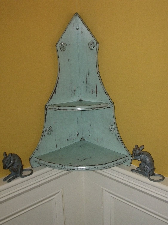Distressed Corner Shelf Shabby Chic Blue Flowers 4500 Via Etsy