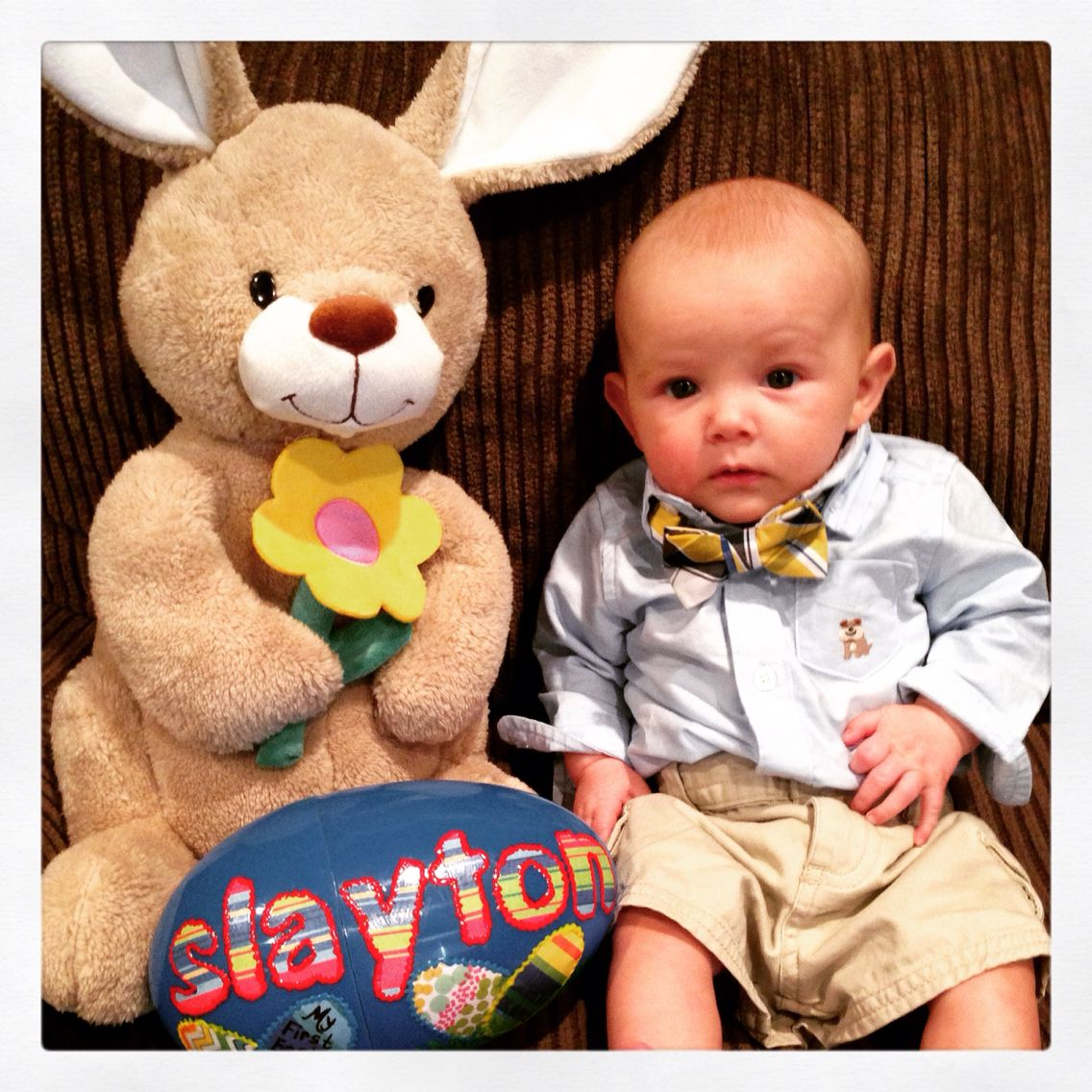 Slayton on Easter this year. 3 months old and rocking a bow tie!
