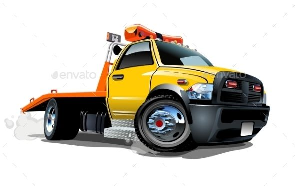 Cartoon Tow Truck Man Made Objects Objects Tow Truck Flatbed Towing Truck Detailing