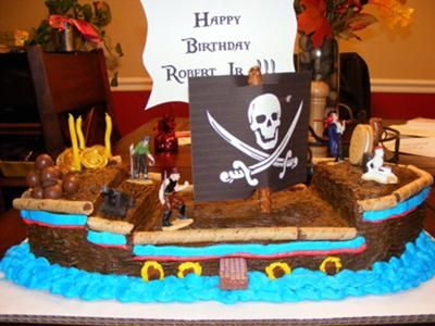 Pirate Ship Cake For this pirate ship cake I made 2 9x13 sheet