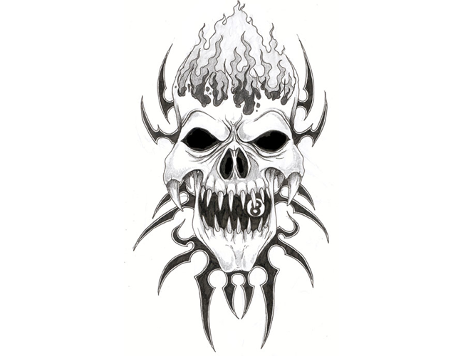 Evil Skull Tattoo Designs | Free Download Tribal Evil Skull Tattoo Tabatha Design #2317 With ...