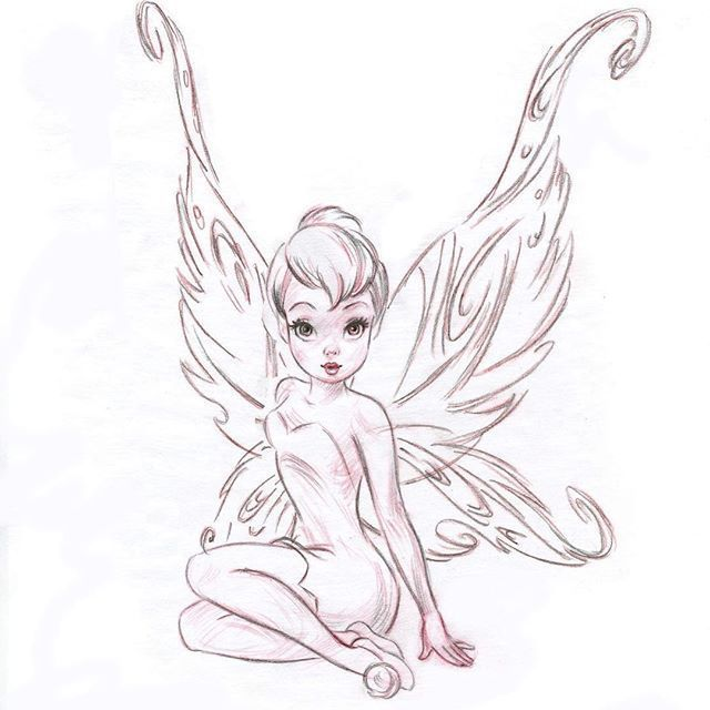 A stylized Tink from long ago. #sketch #drawing #a… – #cartoon #drawing #Long