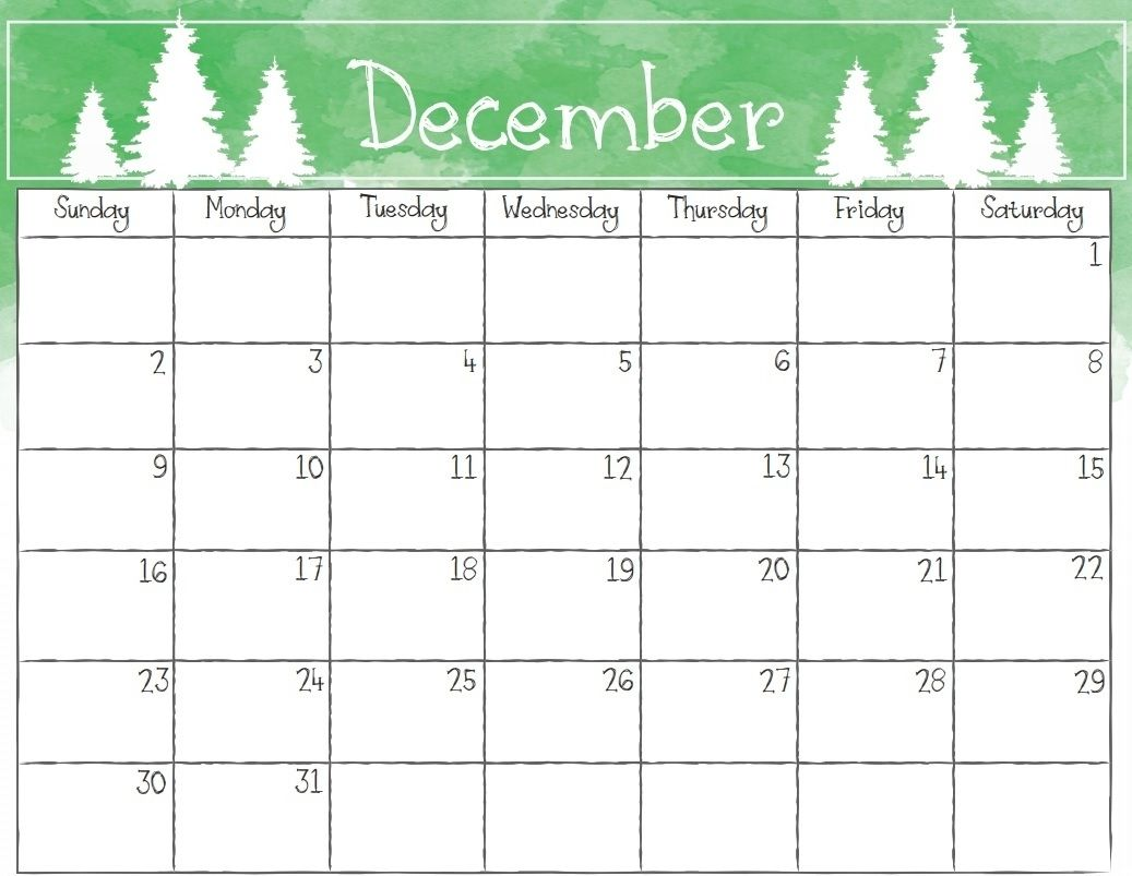 December 2018 Calendar Template Download Free Free Printable