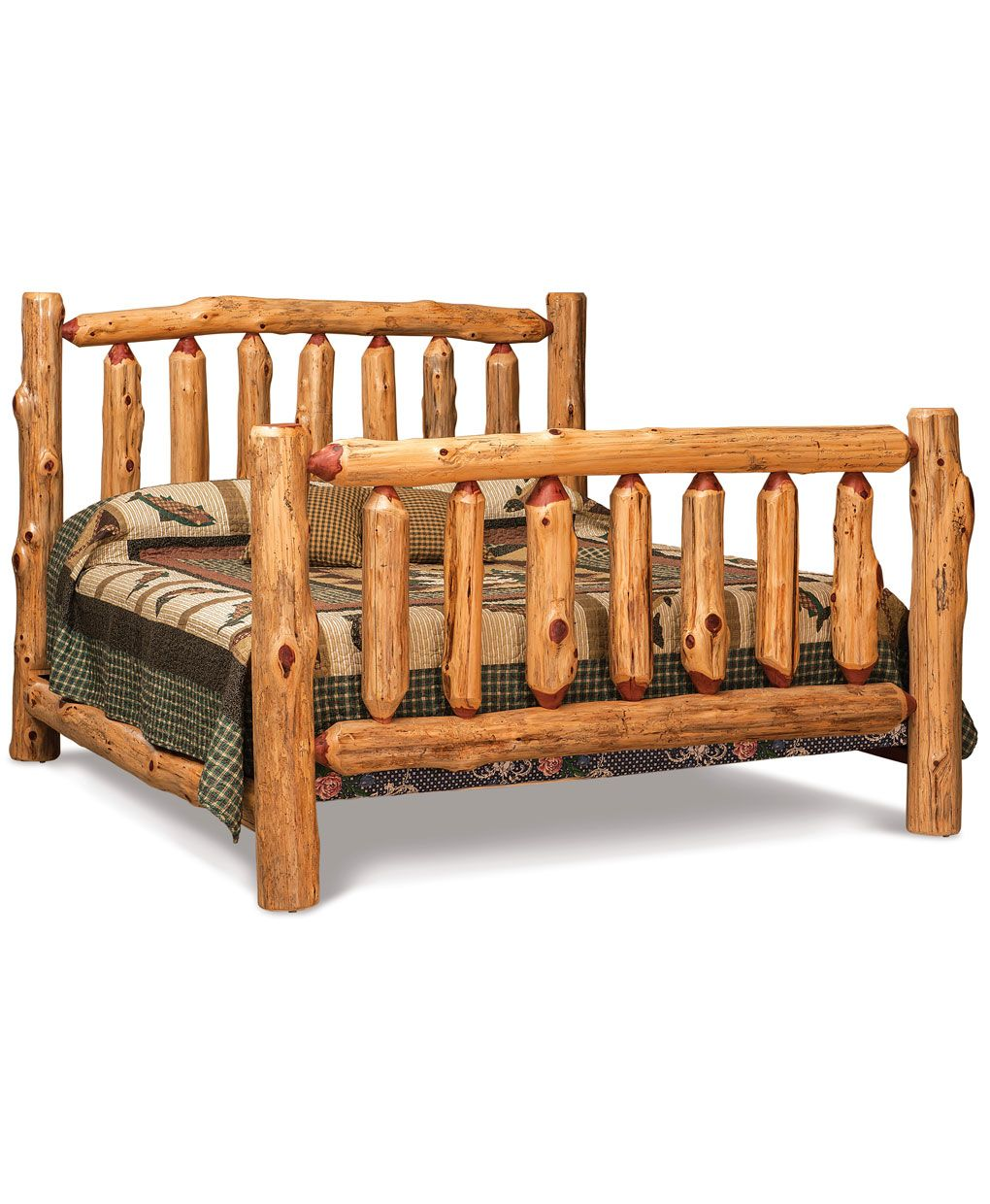 The log full poster bed is made from real solid wood logs