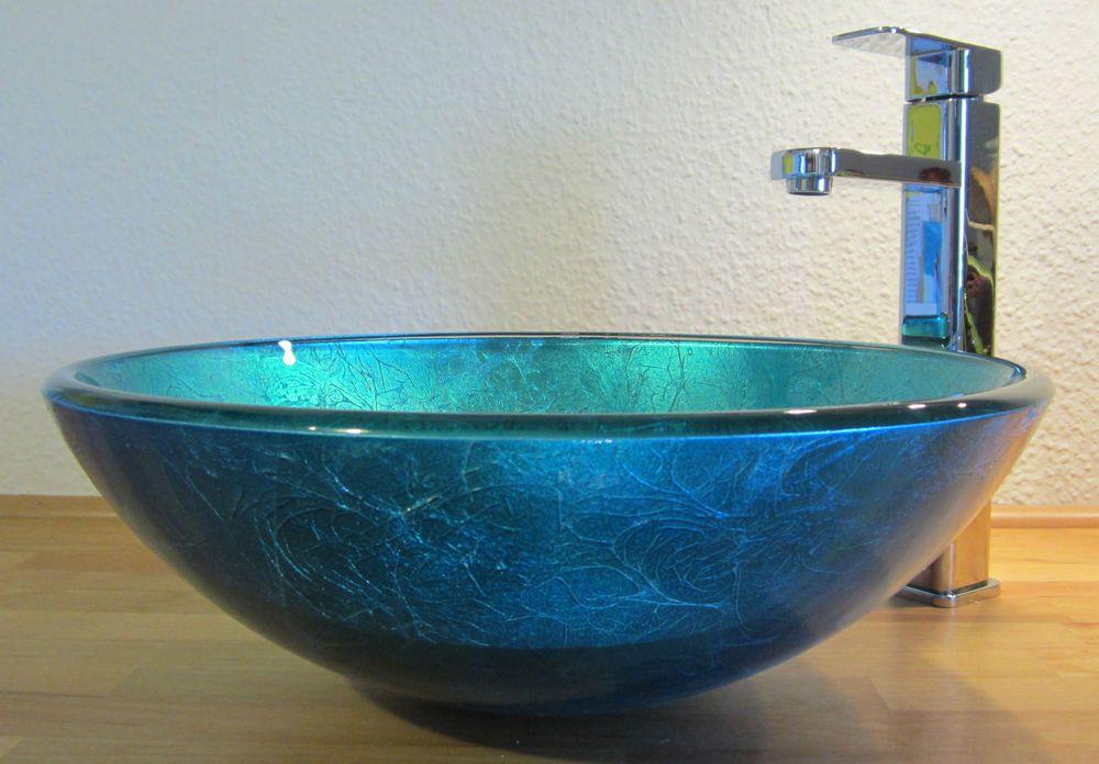 Bad Gäste-WC Waschtisch Aufsatz Glas Waschbecken Waschschale blau ...