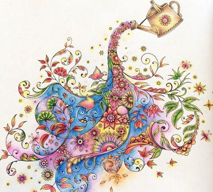 Watering can secret garden regador jardim secreto johanna basford regador jardim secreto for Secret garden adult coloring book