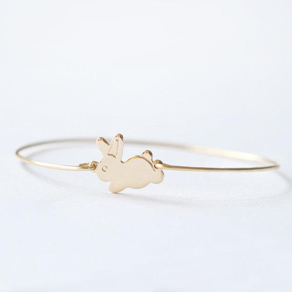 Gold Rabbit Bangle Bracelet Bunny Pendant Small Animal