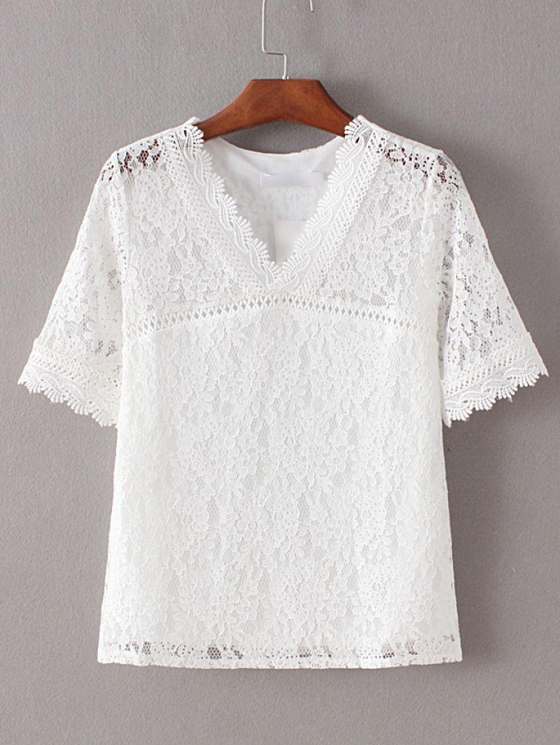 29150598e94 Shop White V Neck Crochet Lace Blouse online. SheIn offers White V Neck  Crochet Lace Blouse   more to fit your fashionable needs.