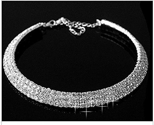 ddae52144 Qurved Silver Crystal Rhinestone Choker Necklace For Women ...
