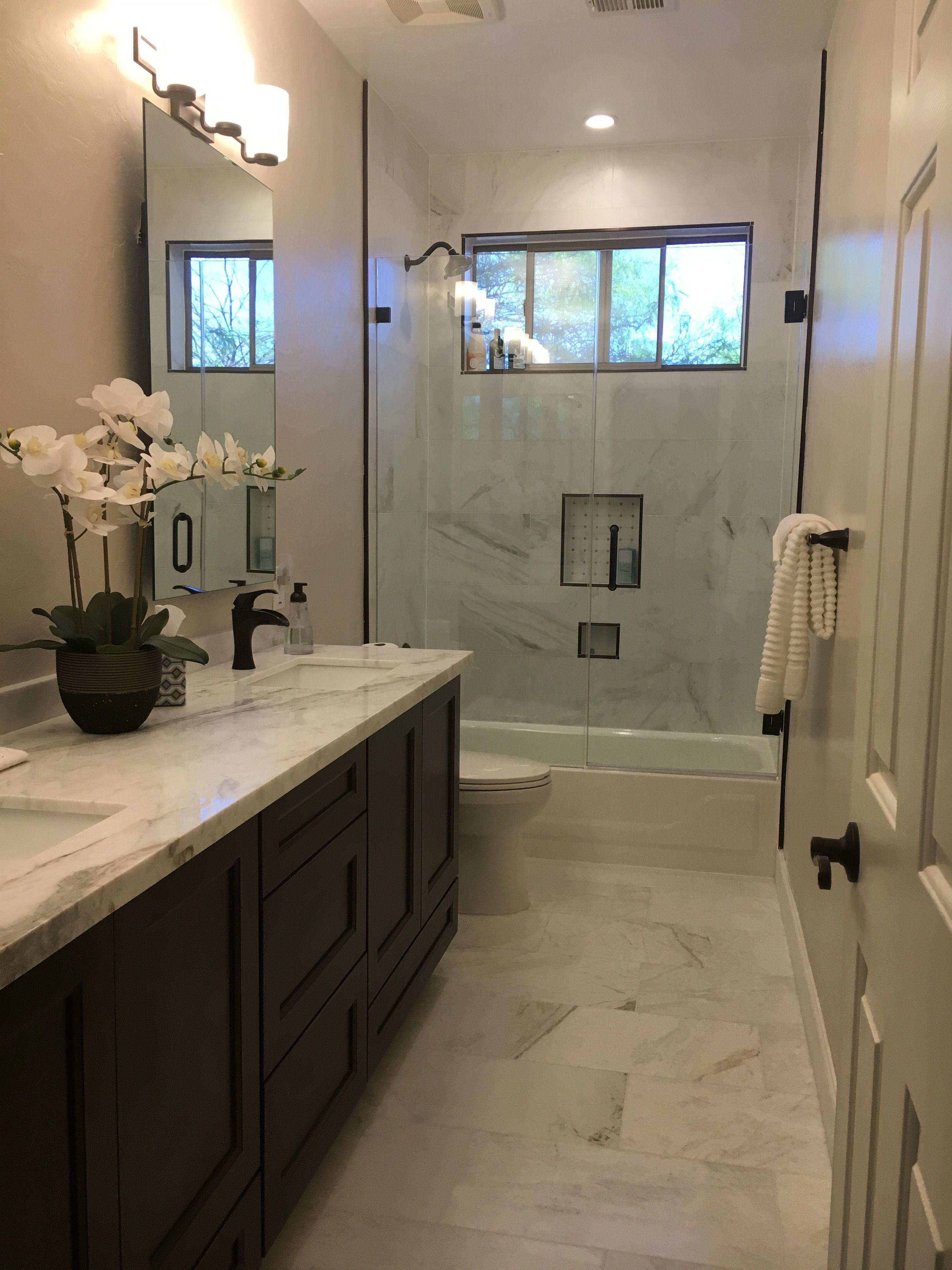 Bathroom Remodel Simple Elegance White Calcutta Umber Schluter