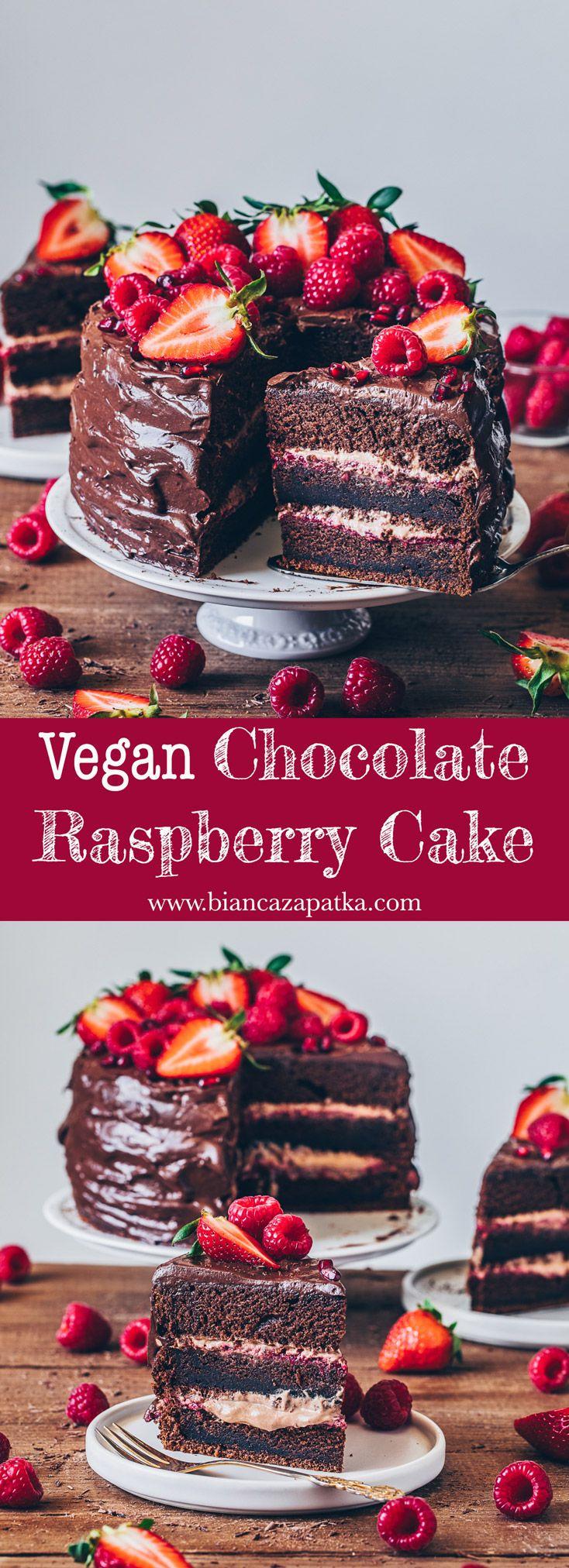 Chocolate Raspberry Cake - Vegan - Bianca Zapatka | Recipes
