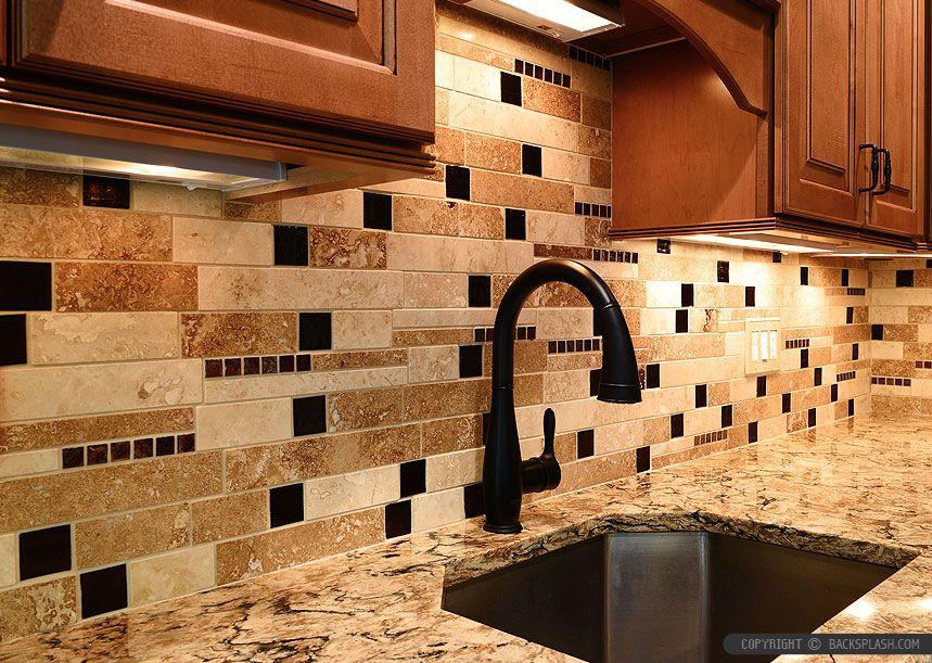 brown glass subway travertine backsplash tile Kitchen Tile ideas