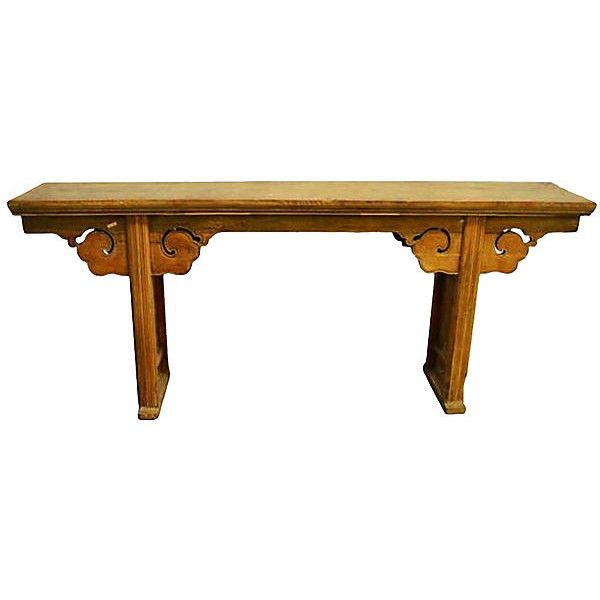 Pre-Owned Long Hand-Carved Natural Altar Table (€3.660) ❤ liked on Polyvore featuring home, furniture, tables, accent tables, natural, patina furniture, hand carved furniture, lacquer table, scrollable table and second hand table