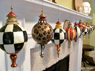 Hand Painted Large Finial Style Designer Christmas Ornaments 4aaa97bec1621
