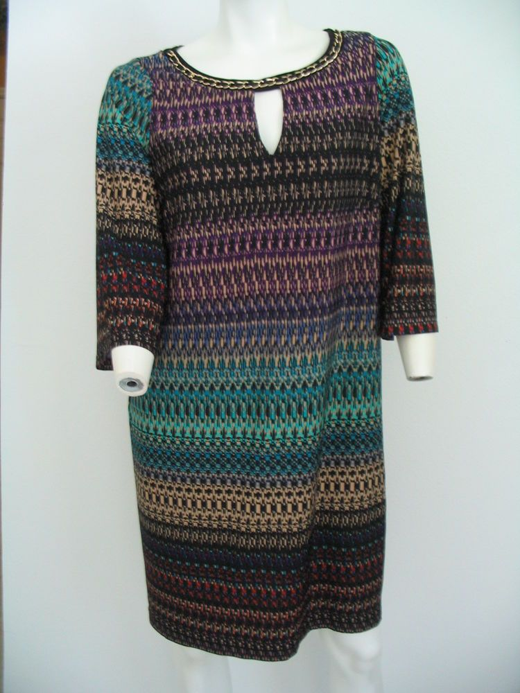 EMMA & MICHELE Size L Shift Dress Multi-Color Abstract 3/4 Sleeves Stretch  #EmmaMichele #Shift #WeartoWork