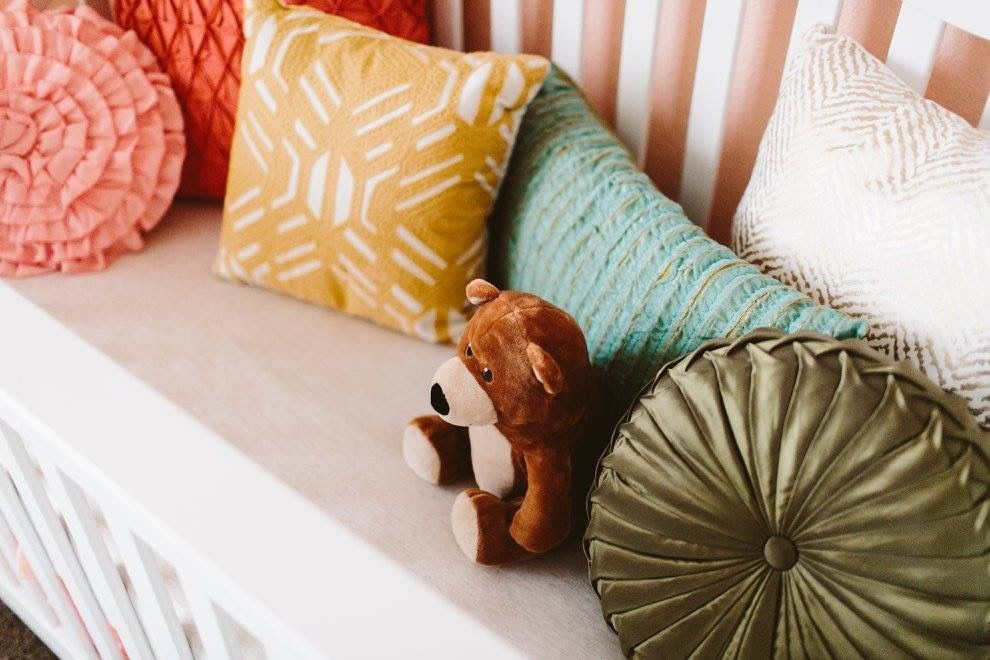 Baby Girl Nursery | Peach Nursery | Warm Accent Pillows | Allison Harp Photography