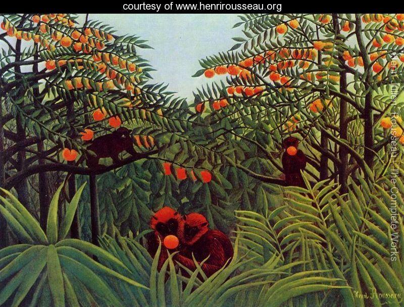 Henri Julien  Rousseau - Apes In The Orange Grove