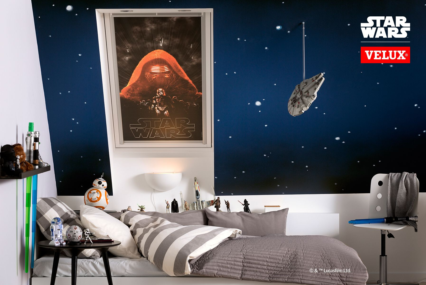 Lightsabers, R20, BB20, stars on a dark blue wall. Complete your