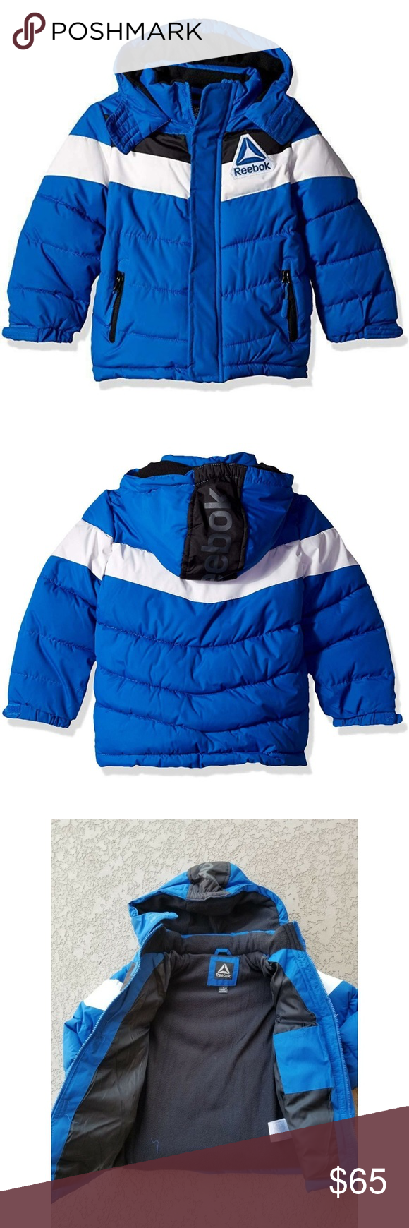 Reebok Boys Active Hooded Snow Jacket Blue Size 7 Brand New With Tag Reebok Boys Winter Puffer Jacket In Blue And White Fashion Clothes Design Fashion Trends [ 1740 x 580 Pixel ]