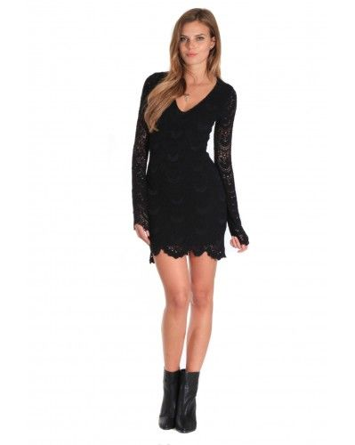 bad5a03ac667 NIGHTCAP CLOTHING - LONG SLEEVE DEEP V SPANISH LACE DRESS IN BLACK ...