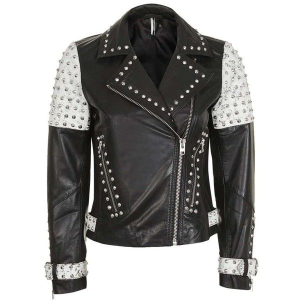 7f5c9a0d1c25 Women s Topshop Maddox Studded Leather Jacket ( 420) ❤ liked on Polyvore  featuring outerwear