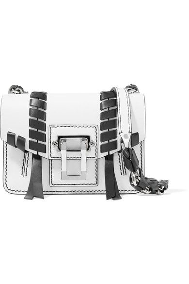 White and black leather (Calf) Flip lock-fastening front flap Weighs approximately 1.5lbs/ 0.7kg Made in Italy