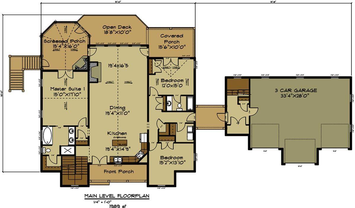 open house plan with 3 car garage car garage mountain house