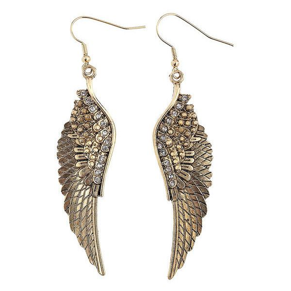 Angel Wings Earrings (90 SEK) ❤ liked on Polyvore featuring jewelry, earrings, accessories, brincos, aros, diva earrings, jewellery by diva, women's jewellery, gold tone earrings and angel wing jewelry