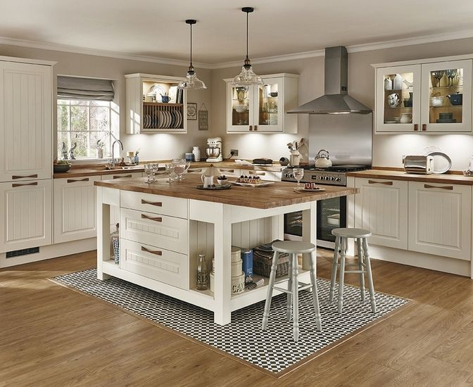 The Burford Tongue & Groove shaker style kitchen in Ivory ...