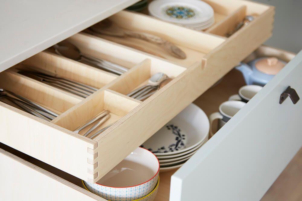 cnc cut birch plywood dovetail drawer detail birchkitchen designskitchen - Birch Kitchen Design