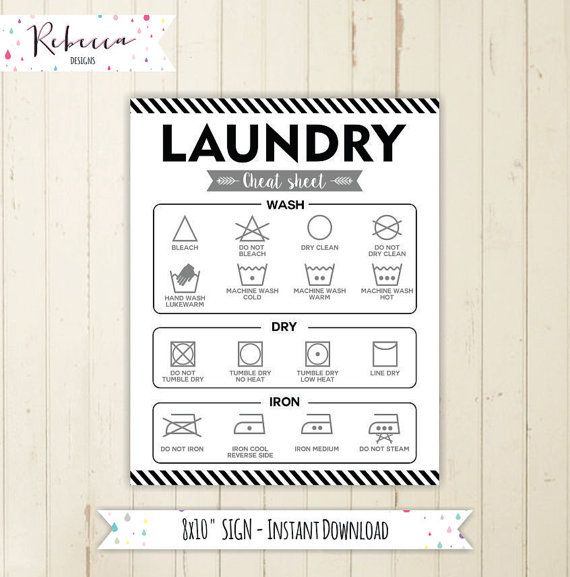 Printable Laundry Symbol Chart Guide Laundry Cheat Sheet Instant