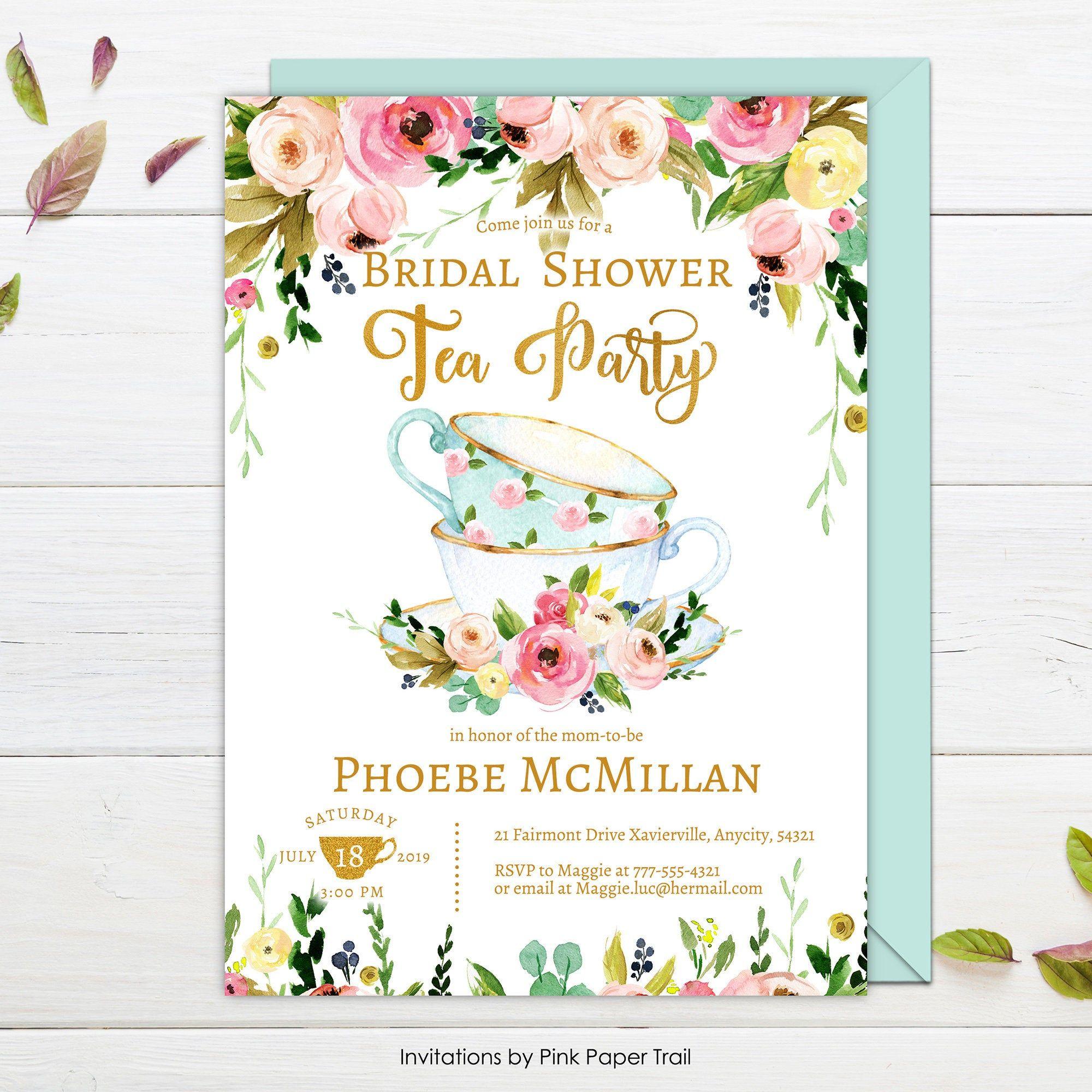 Tea Party Bridal Shower Invitation Floral Garden Bridal Shower A Tea Party Baby Shower Invitations Tea Party Bridal Shower Invitations Tea Party Bridal Shower