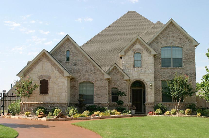 Brick And Stone Exterior Combination Light Colored And White