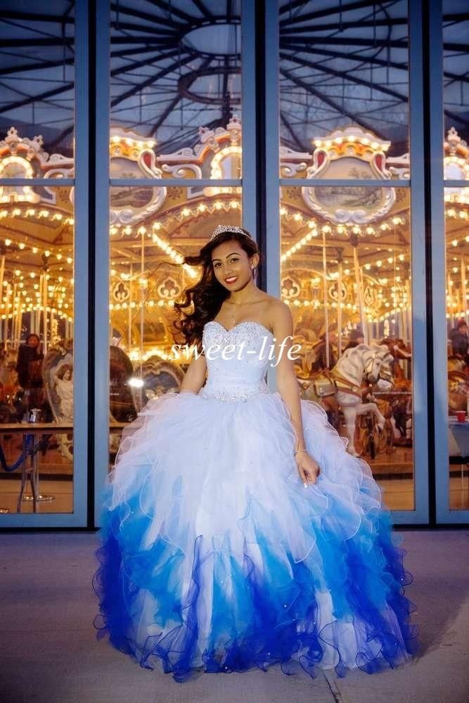 2015 Exquisite Quinceanera Dresses Ombre White Blue Ball Gown Sweetheart  Ruffled Organza Sequins Lace Up Vestidos De Fiesta Sweet 16 Dresses Online  with ... 66f290fcf9af