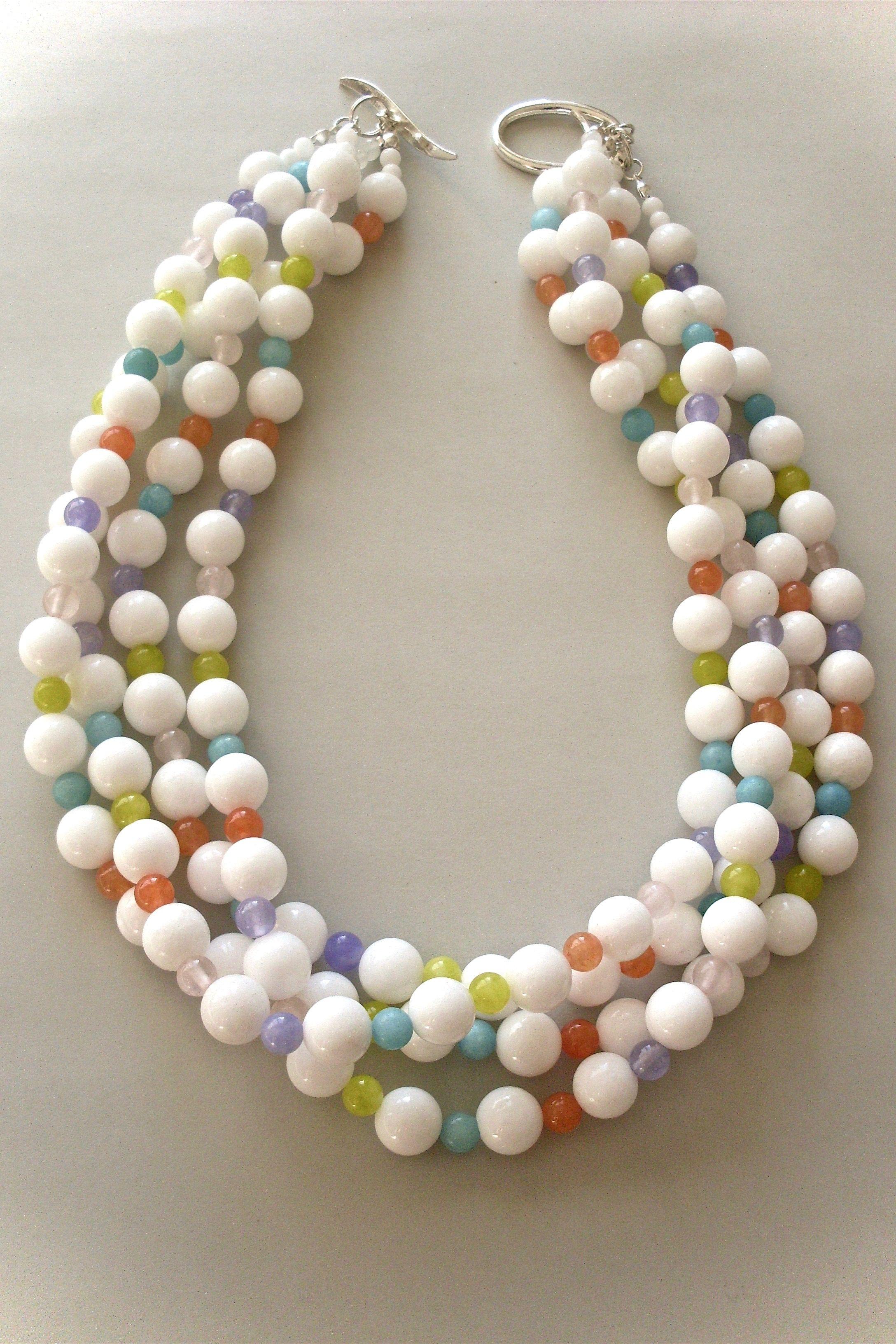 e0676a29c201dc Malaysia jade necklace by Yara Crowther #necklace #boldnecklace  #statementnecklace #whitestonejewelry #contemporarynewzealandjewellery  #multistrandnecklace ...
