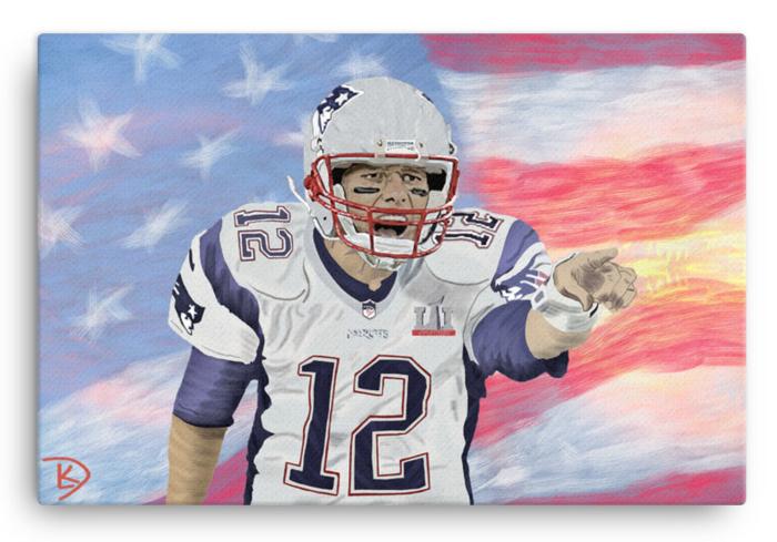 Tom Brady Wall Art Football Canvas Man Cave Football Poster Goat Original Painting Design Football Canvas Canvas