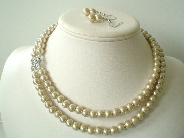 """Two Strand Champagne Pearl with Square Rhinestone Pendant Beaded Necklace and Earring Set. 18"""" $28.00, via Etsy."""