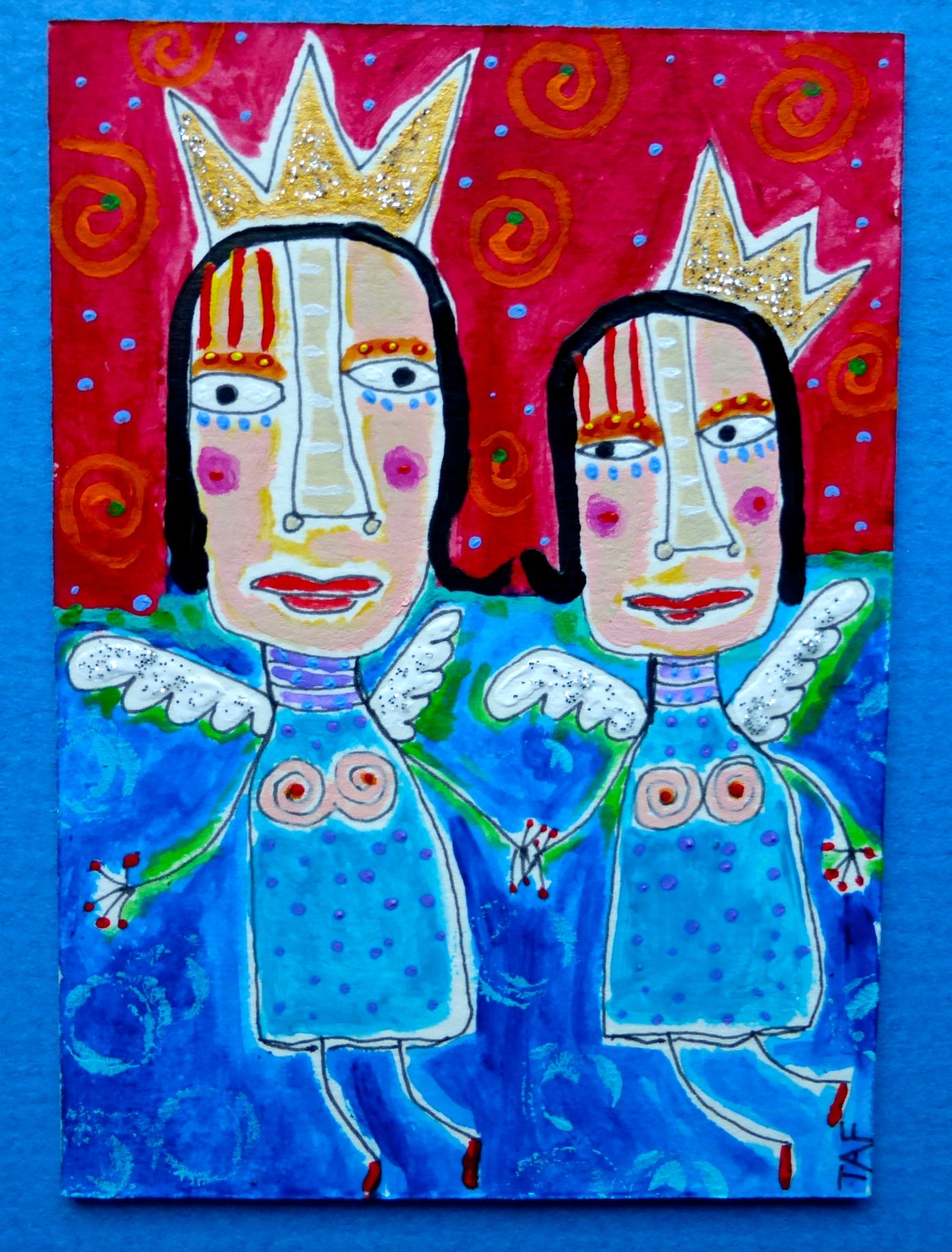 """""""Angel Queens"""" original acrylic/ink ACEO. Art by Tracey Ann Finley"""