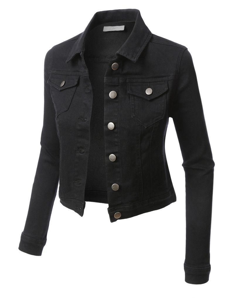 Le3no Womens Classic Long Sleeve Cropped Denim Jacket Denim Jacket Cropped Denim Long Sleeve Jean Jacket [ 1024 x 785 Pixel ]