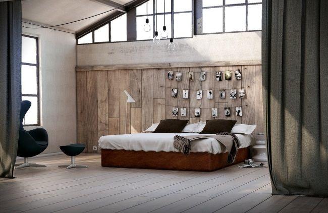 wohnideen für schlafzimmer rustikal warme farben naturholz ...