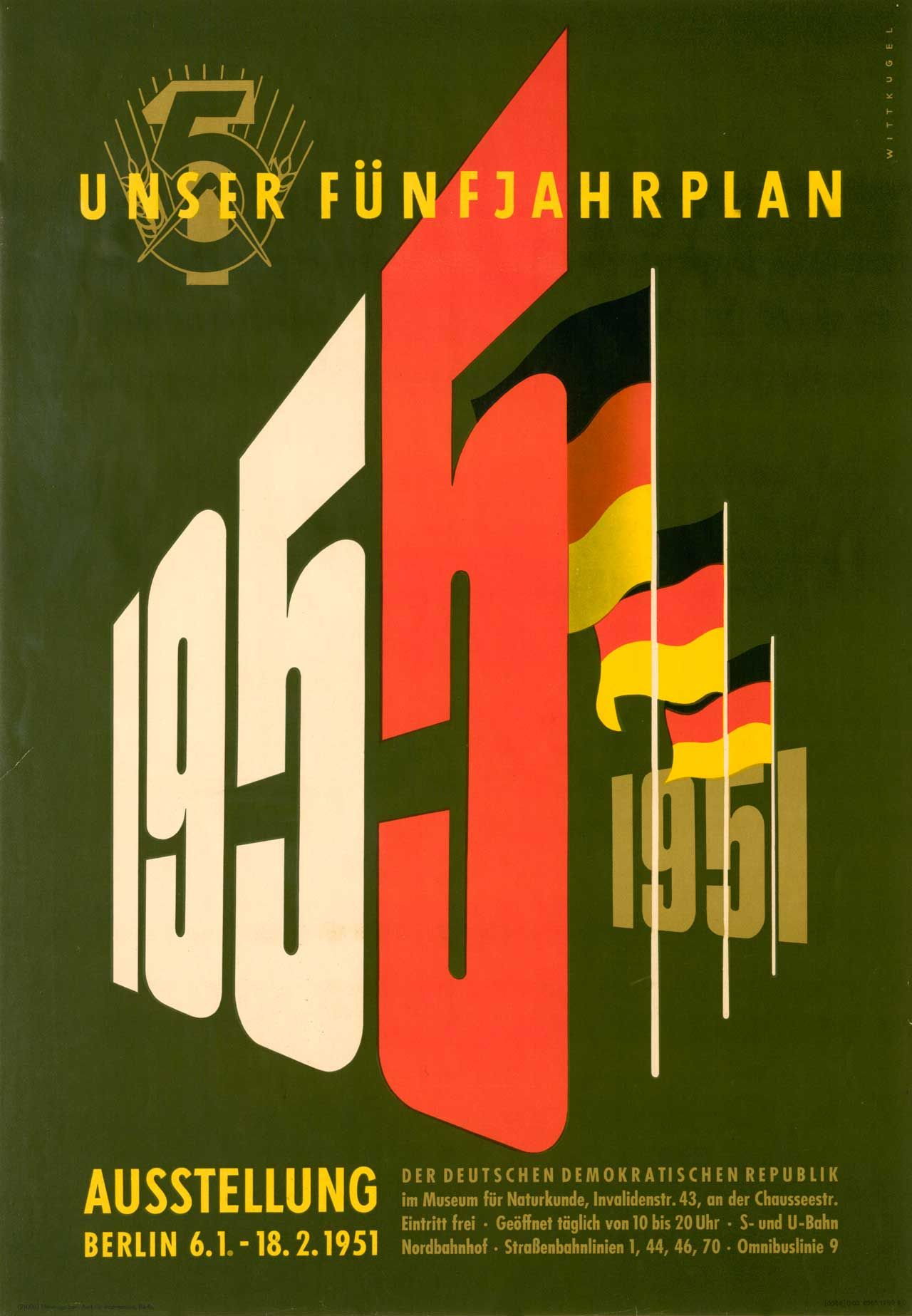 Poster design 1950 - Exhibition Poster For Unser F Nfjahrplan Our Five Year Plan 1950